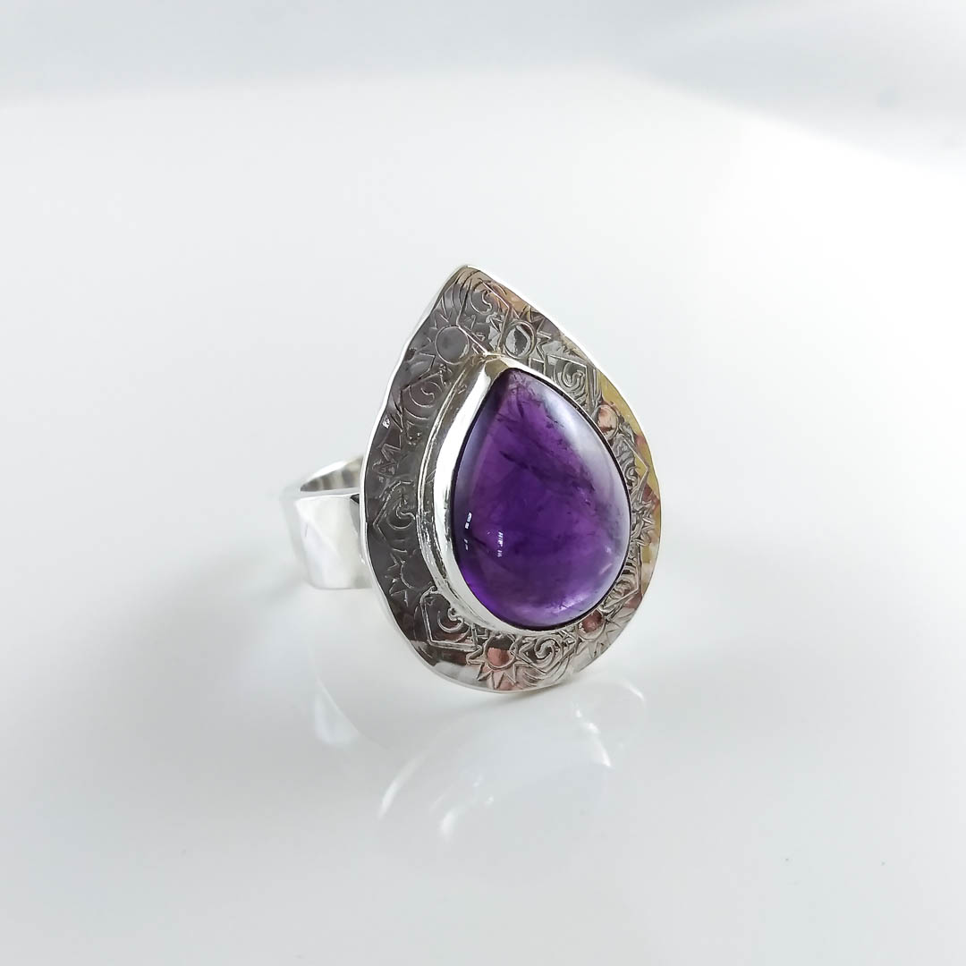be51986337 Amethyst Pear Shape Textured Silver Power Ring ~ Jewelweed Sprouts