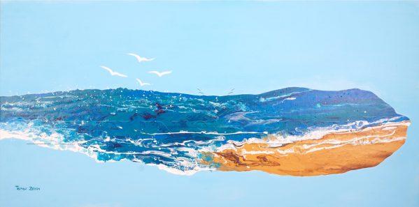 ציור של חוף ים ציפורים ושמיים
