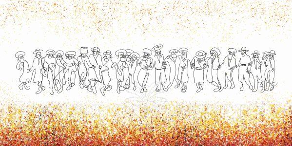 ציור חסידים רוקדים ביחד