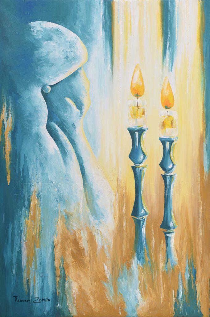 ציור הדלקת נרות שבת