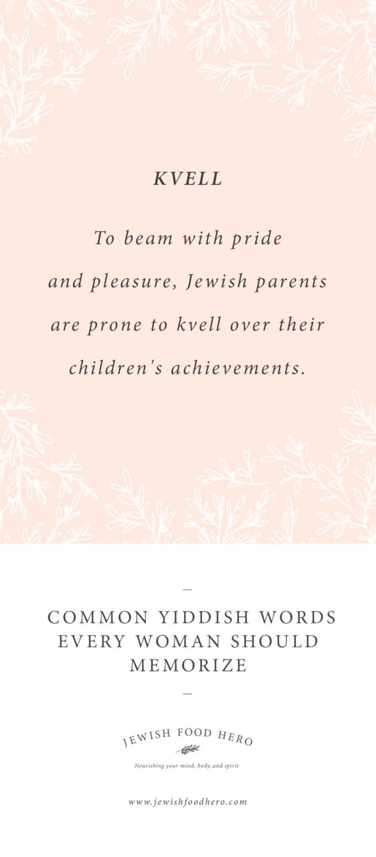 Kvell, Yiddish Words