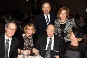 L-R Dr Bernard and Temi Monderer, Rabbi Joseph Bronner and Dr. Leila Bronner. Standing behind: Walter and Esther Feinblum