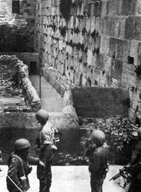 Israeli forces looking at the Western Wall just before it was secured by the IDF