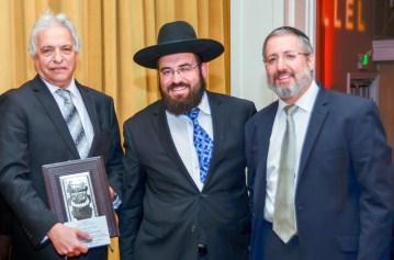 L-R Mr. Victor Sacks, (Awardee), Rabbi Lebhar, Rabbi Brander. Photos: Manny Saltiel