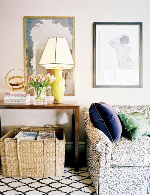 yellow lamp on console table