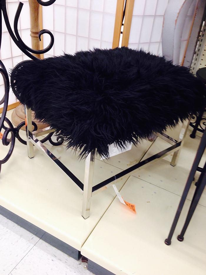 black furry bench at hobby lobby