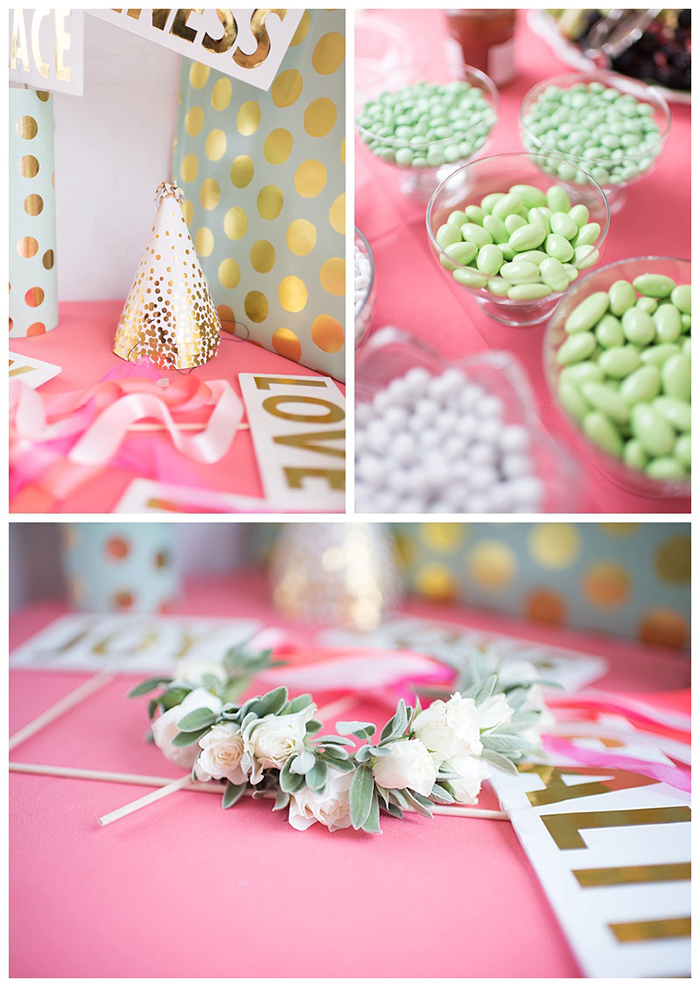 Coral, Mint and Gold Party Decor