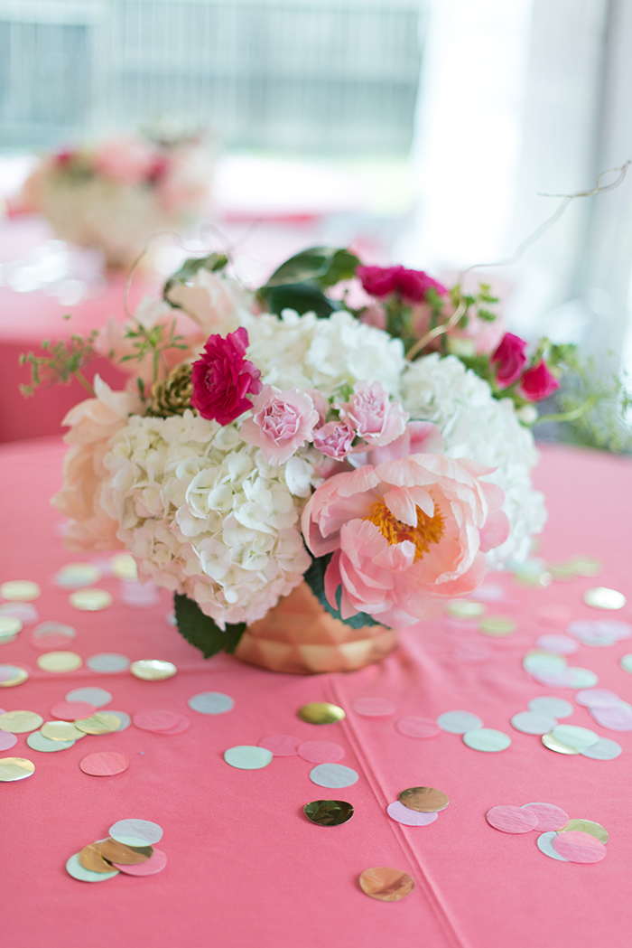 Flower arrangements with peonies for Bat Mitzvah