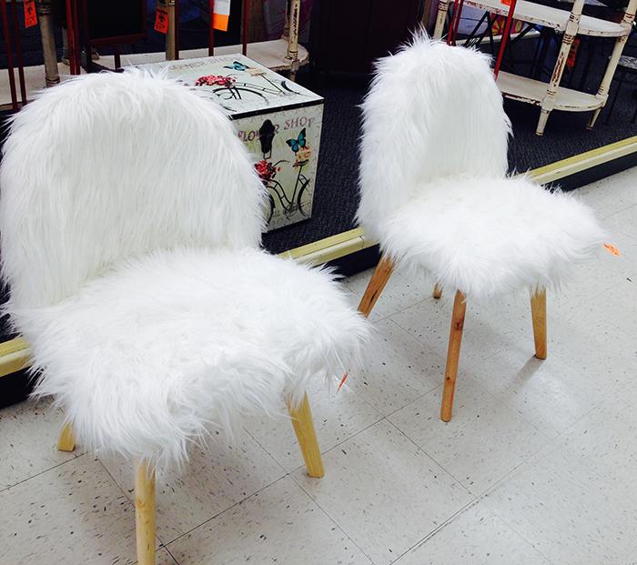 White furry chairs found at hobby lobby