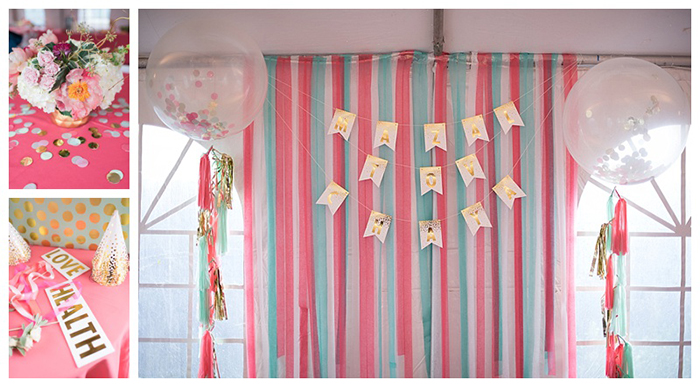 Coral Mint and Gold Party Decor