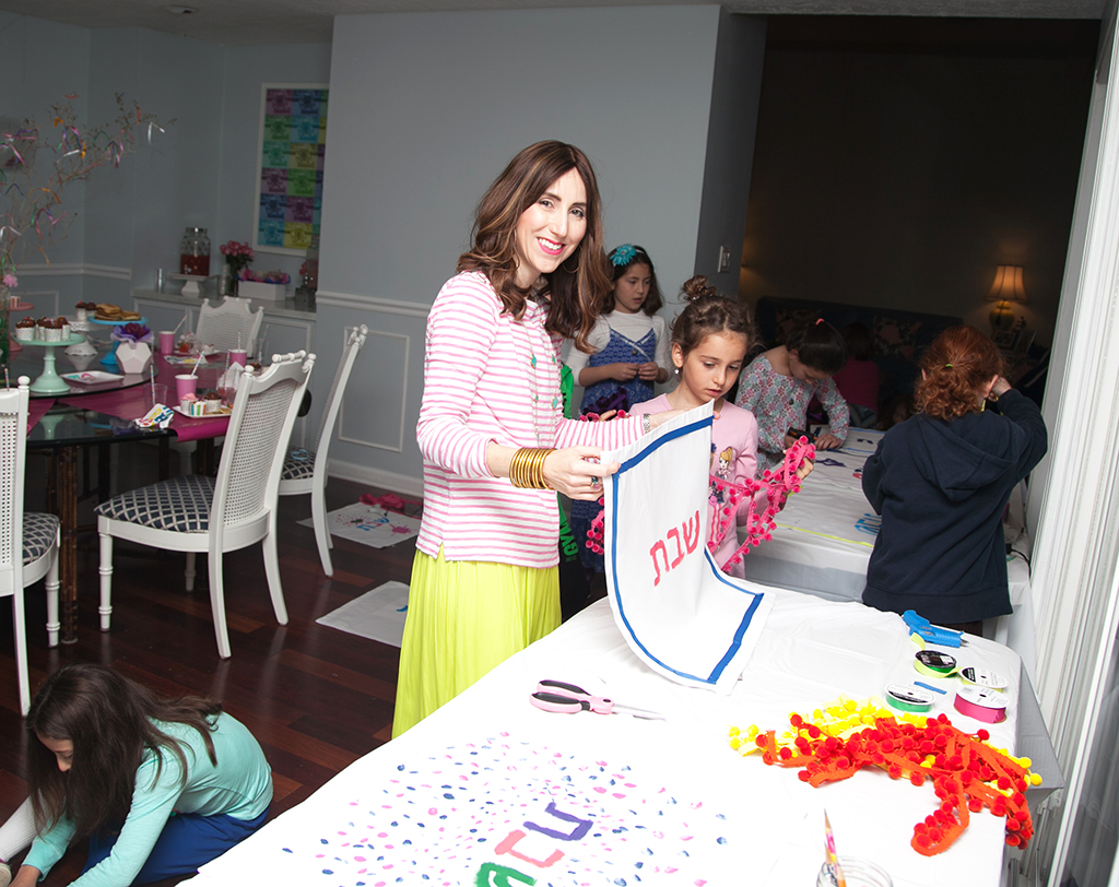 Decorating Challah Covers at Girl's Nine Year Old Birthday Party