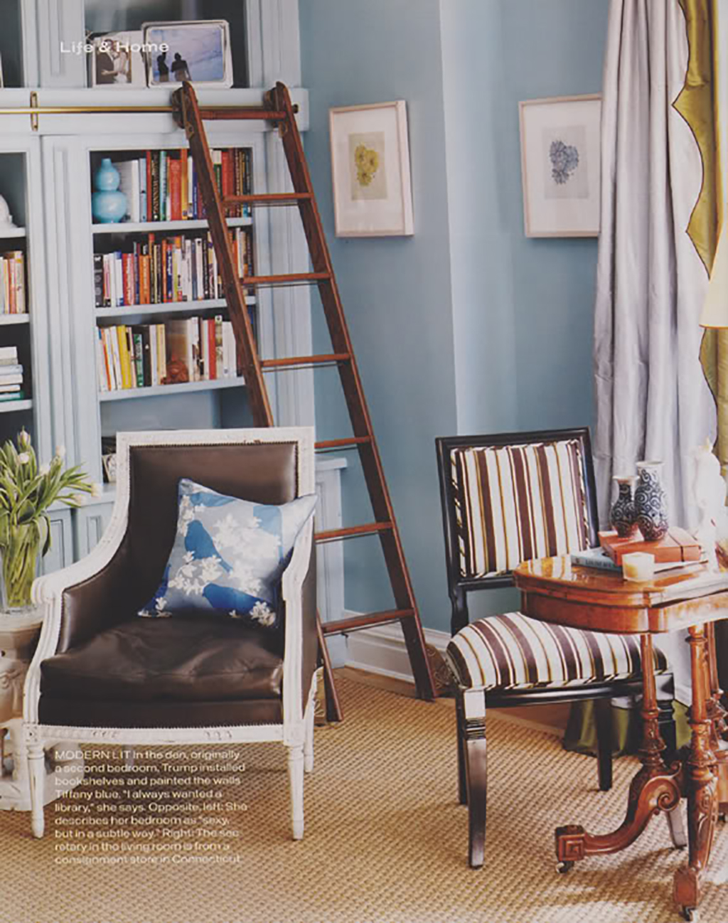 Ivanka Trump's Old Apartment Library via Little Green Notebook