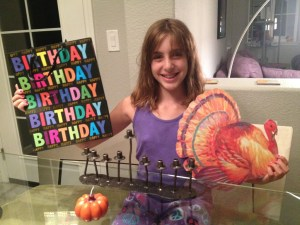 Sandy's granddaughter gets ready for Thanksgivukkah.