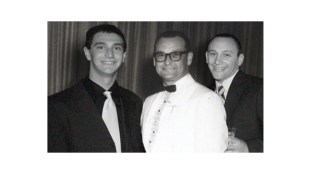 Adam Greene 18 years old, grandson; Marvin Greene 38 years old, grandfather; Mike Greene 22 years old, grandson. Marvin died in 1962. Adam and Mike were Photoshopped into the picture in 2008, 46 years after Marvin died!