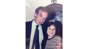 Rabbi Jonathan Kendall's daughter, right, with Nobel Peace Prize winner Elie Wiesel