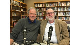 Rabbi Address, right, chats with Rabbi Sam Joseph after recording the podcast at Temple Emanuel, Cherry Hill, NJ, on March 25.