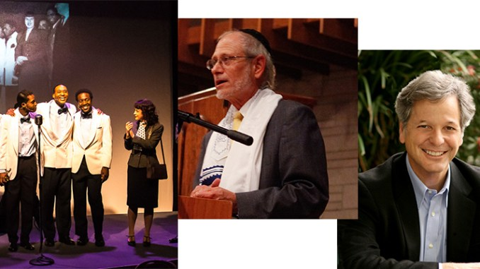 """Rabbi Alan Berg, center, is involved in the """"Soul Harmony"""" musical theater production, and Rabbi John Rosove, right, has written a new book. They are guests on this week's Jewish Sacred Aging Radio show."""