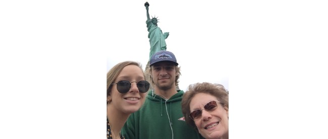 "June, 2019, with my grandkids in NYC. ""I felt tears run down my face as I saw the Statue of Liberty. I didn't know I'd get so emotional."""
