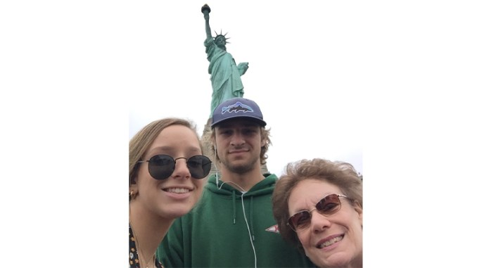 """June, 2019, with my grandkids in NYC. """"I felt tears run down my face as I saw the Statue of Liberty. I didn't know I'd get so emotional."""""""