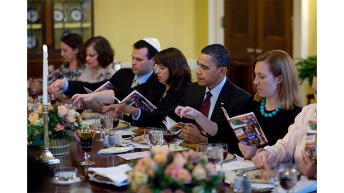 President Barack Obama and the First Family mark the beginning of Passover with a Seder with friends and staff in the Old Family Dining Room of the White House, March 29, 2010. (Official White House Photo by Pete Souza)