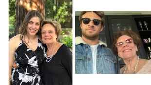 Sandy Taradash with her grandchildren, Ari, in left photo, and Jacob, in photo at right