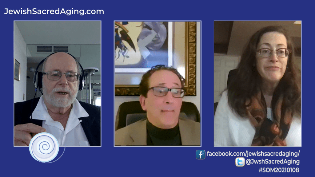 Rabbi Richard Address, left, chats with guests Rabbi JD Sacks and Cantor Dr. Rhoda Hoffman, on this week's Seekers of Meaning TV Show and Podcast.