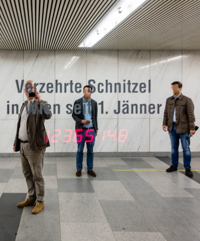 """Schnitzels eaten in Vienna since January 1st."" This counter is part of the permanent media installation ""Pi"" by Canadian artist Ken Lum (located in the Opernpassage, between the subway entrance near the Secession building and the Naschmarkt and the subway stop ""Karlsplatz"")."