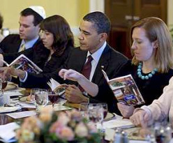 President Obama attending the White House seder one day after an administration official accused Dennis Ross of dual loyalty with a slight preference for the other country to which he is supposedly loyal, Israel