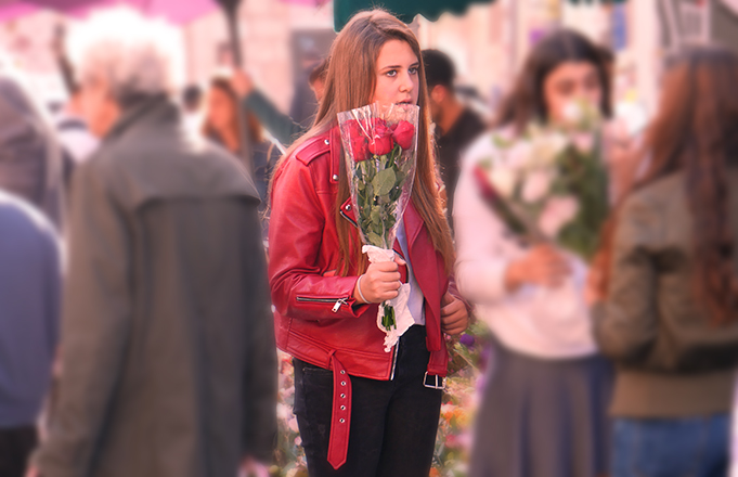 Red Motorcycle Jacket and Shabbat Roses