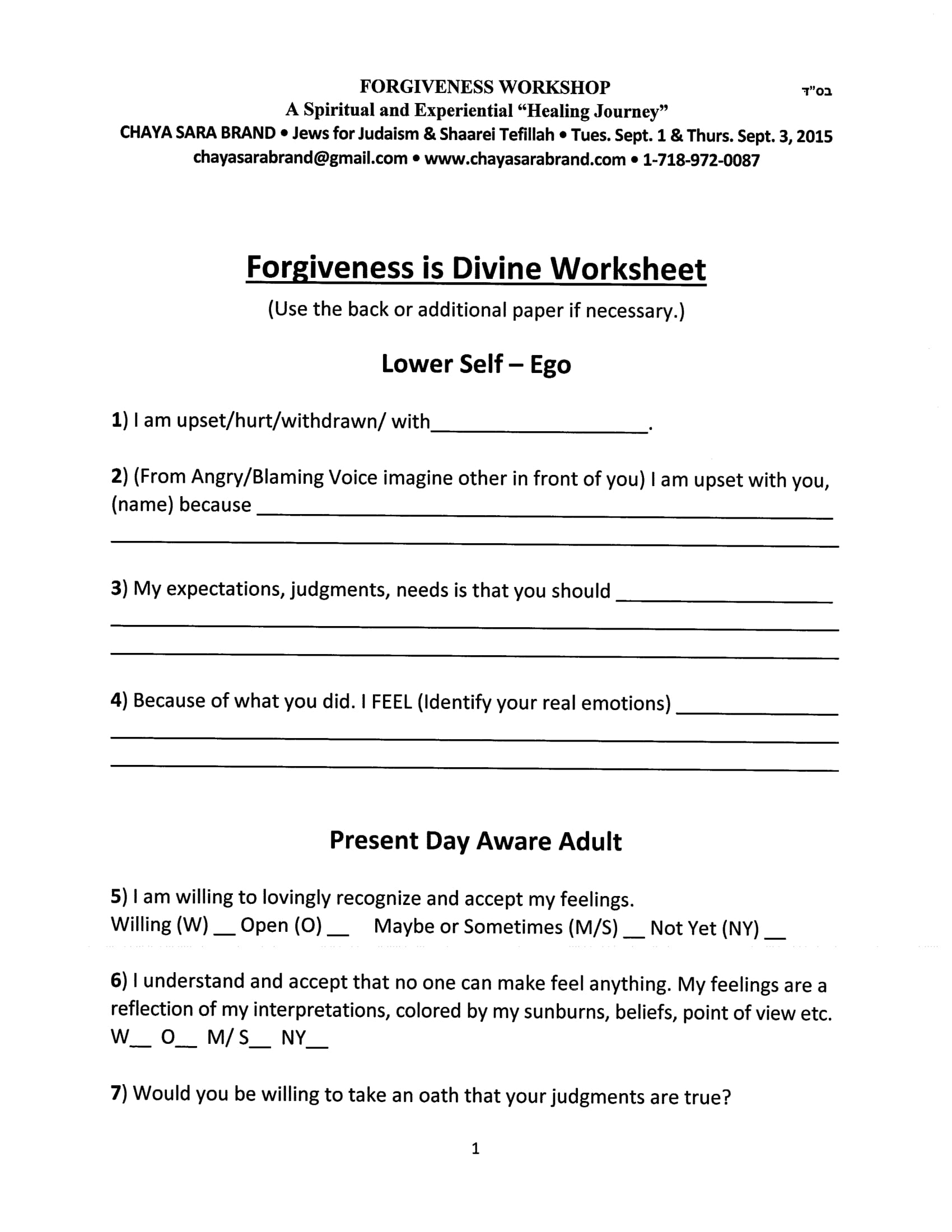 Forgiveness Worksheet