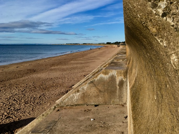 Arbroath beach and sea wall by Jez Braithwaite