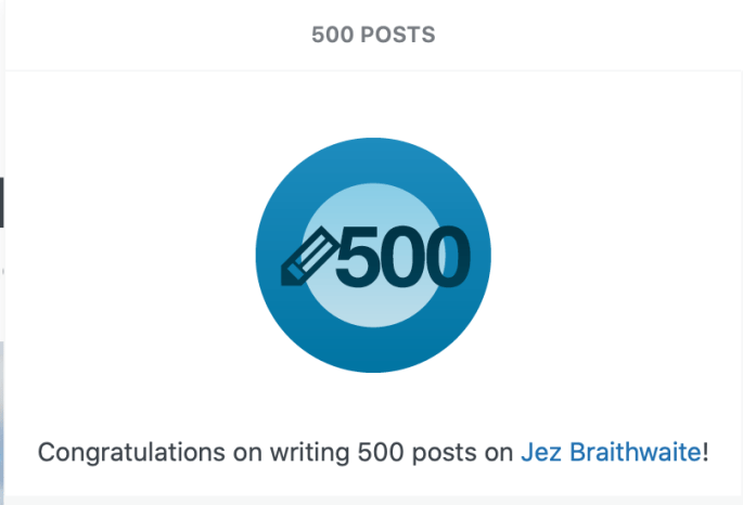 500 posts on Jez Braithwaite