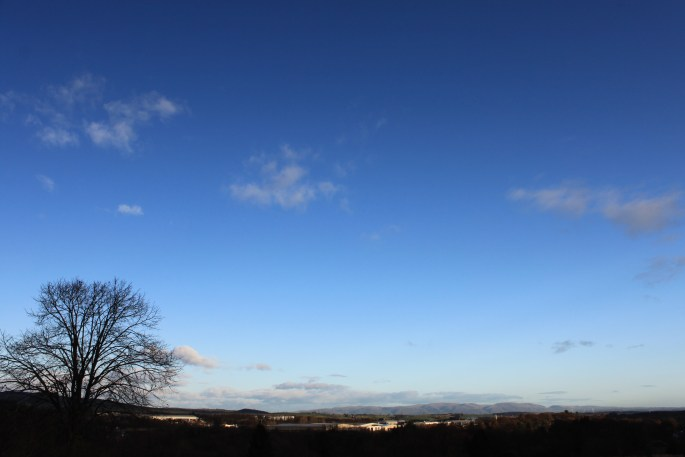 Mostly clear skies over the Ochil Hills