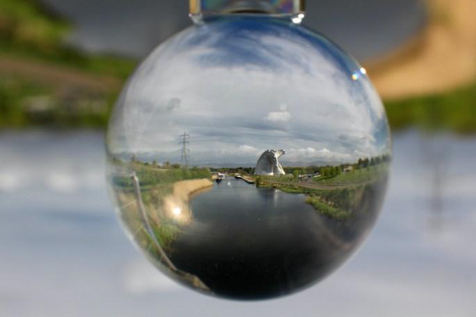 Lensball shot of the Kelpies