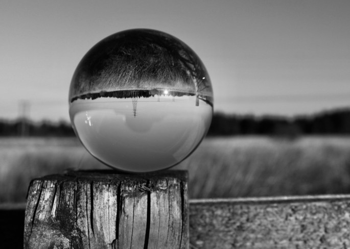 Lensball on a fence post