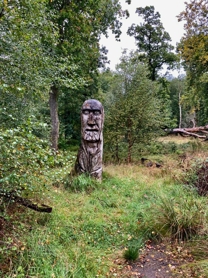 Wooden head carving in Palacerigg Country Park