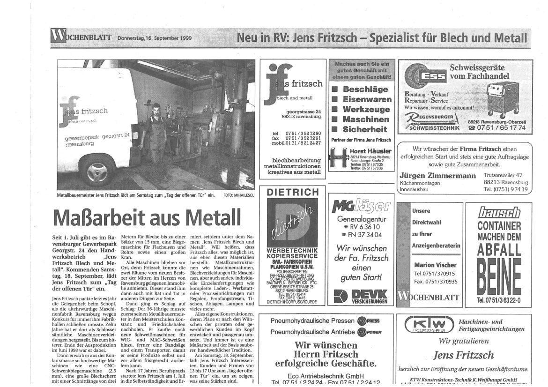 Zeitungsartikel Wochenblatt 1999