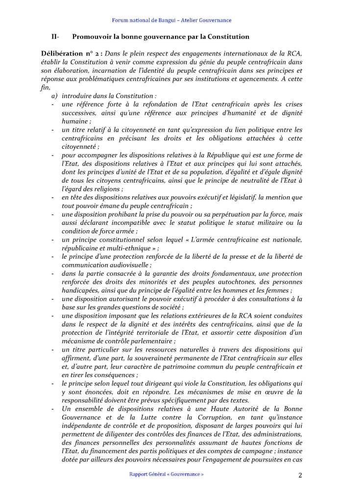 FORUM DE BANGUI- COMMISSION GOUVERNANCE - RAPPORT FINAL AMENDÉ APRÈS PLÉNIÈRE_Page_2
