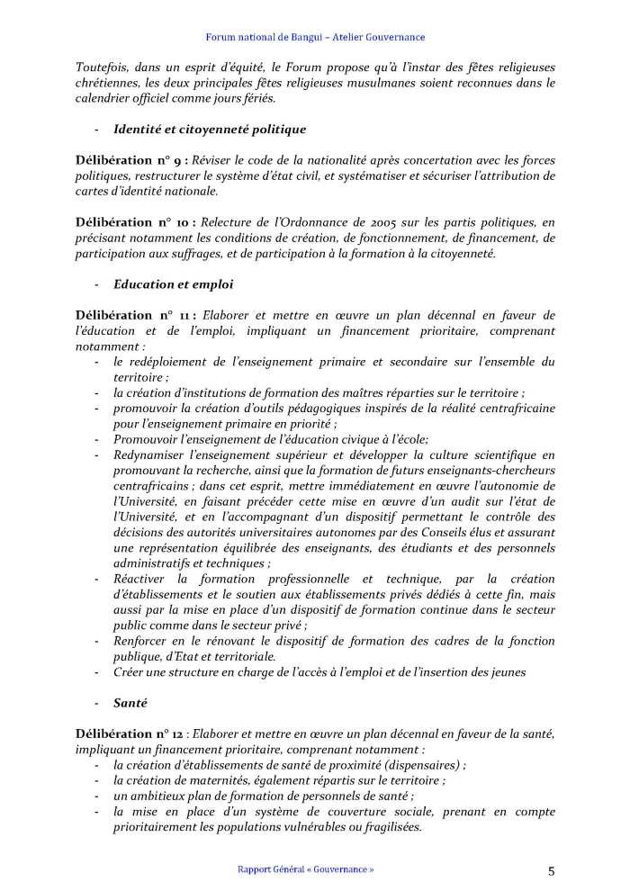 FORUM DE BANGUI- COMMISSION GOUVERNANCE - RAPPORT FINAL AMENDÉ APRÈS PLÉNIÈRE_Page_5