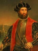 Navegador e explorador português Vasco da Gama. Comandante dos primeiros navios a navegar da Europa para a Índia.