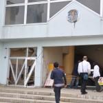 太平洋の海岸から数百㍍離れた場所にある浪江町の小学校。津波が一階まで浸透した。2016年5月25日
