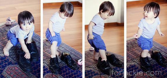 10 June 2013 - Julienne wearing daddy's shoes