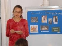 Hannah gives a presentation at the homeschool cJonathaoop