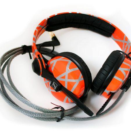Custom Cans Customised Sennheiser HD25 Laser Trap Geometric Pattern UV Orange and Grey