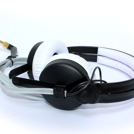 Sennheiser DJ headphones with white pads and cable
