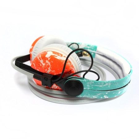 Custom Cans Sennheiser HD25 in Turquoise Blue And Neon UV Orange with White Splatter Customised