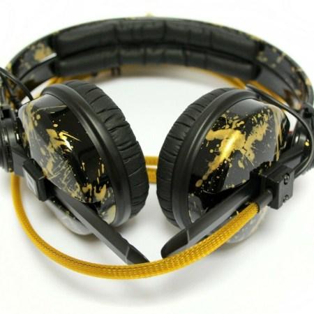 Custom Cans High Gloss Black & Gold Splatter, Sennheiser HD25 Customised