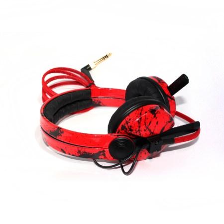 Custom Cans Red & Black Paint Splatter Hot Rod Sparkle HD25, Sennheiser HD25 Customised