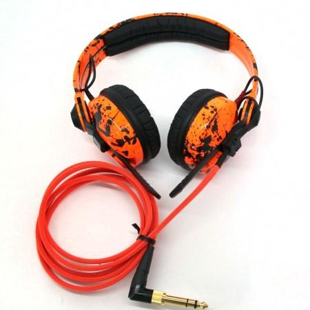 Custom Cans UV Orange with Black Paint Splatter Sennheiser HD25 DJ Headphones with 2yr warranty