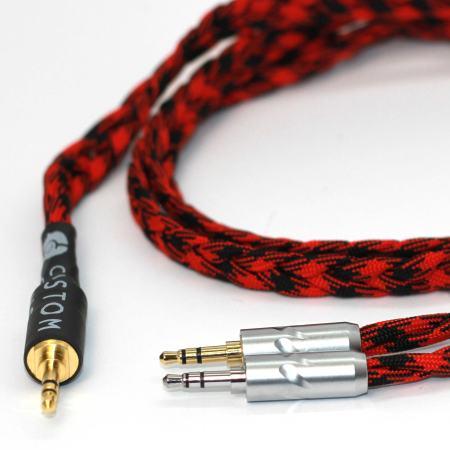 Ultra-low capacitance litz cable with 2 x 3.5mm TRS jacks for Denon headphones (AH-D600, AH-D7200, AH-D7100, AH-D9200, AH-D5200)